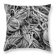 Tangled Rope And Lobster Fishing Gear On Dock Maine Throw Pillow