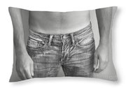 Tanline In Jeans Black And White Throw Pillow