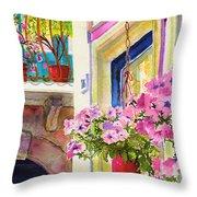 Taormina- Hanging Petunias Throw Pillow