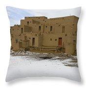 Taos Pueblo With Snow Throw Pillow