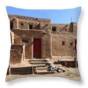 Taos Red Doors  Throw Pillow