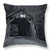 Tappan Covered Bridge Bw Throw Pillow