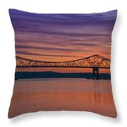 Tappan Zee Bridge Sunset Throw Pillow