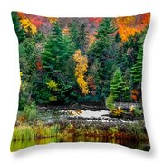 Taquamenon Lower Falls And Observation Deck. Throw Pillow
