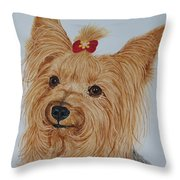 Tara The Yorkie Throw Pillow