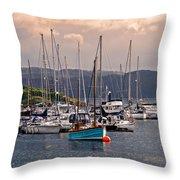 Tarbet Harbor At Sunrise Throw Pillow