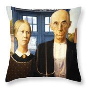 Tardis V Grant Wood Throw Pillow