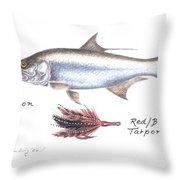 Tarpon And Red Black Tarpon Fly Throw Pillow
