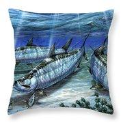 Tarpon In Paradise - Sabalo Throw Pillow by Terry Fox