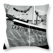 Tarpon Springs Spongeboat Black And White Throw Pillow