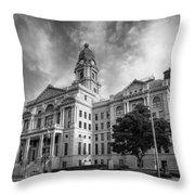Tarrant County Courthouse Bw Throw Pillow