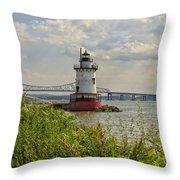 Tarrytown Lighthouse And The Tappan Zee Bridge Throw Pillow