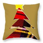 Tartan Christmas Tree On Gold Throw Pillow