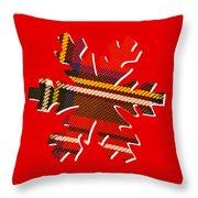 Tartan Snowflake On Red Throw Pillow