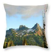 Tatoosh Range In August. Mt Rainier National Park Throw Pillow