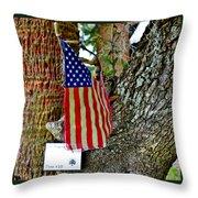 Tattered America Throw Pillow