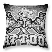 Tattoo Parlor Sign In Rough Neighborhood  Throw Pillow