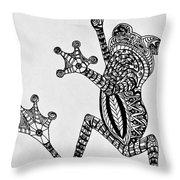 Tattooed Tree Frog - Zentangle Throw Pillow