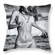 Ms Turkey Tatyana Running In The Ocean Waves - Glamor Girl Photo Art Throw Pillow