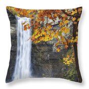 Taughannock Falls And Maple Throw Pillow