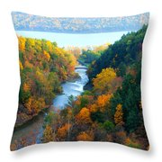 Taughannock River Canyon In Colorful Autumn Ithaca New York Panoramic Photography  Throw Pillow