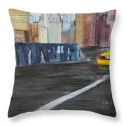 Taxi 9 Nyc Under Construction Throw Pillow