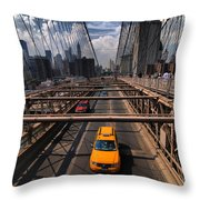 Taxi Crossing The Brooklyn Bridge Throw Pillow by Amy Cicconi