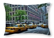 Taxicabs Of New York City Throw Pillow