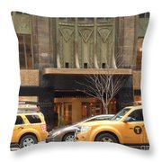 Taxis In The City Throw Pillow