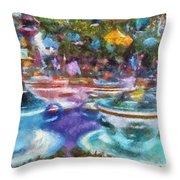 Tea Cup Ride Fantasyland Disneyland Pa 02 Throw Pillow
