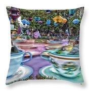 Tea Cup Ride Fantasyland Disneyland Throw Pillow by Thomas Woolworth