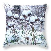 Tea Cups Of Snow Throw Pillow