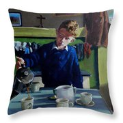 Tea For Three  Me Da Me Ma And Me Throw Pillow