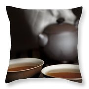 Tea In Cups With A Steaming Pot In The Throw Pillow