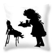 Tea Party Dolly Silhouette Throw Pillow