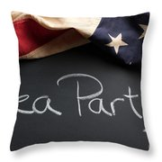 Tea Party Political Sign On Chalkboard Throw Pillow