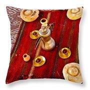 Tea Service In A Bedouin Tent In Wadi Rum-jordan Throw Pillow
