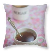 Tea Time In Pink Throw Pillow