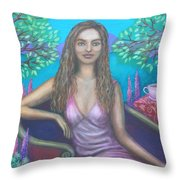 Tea With Eleanor Throw Pillow by Alice Mason