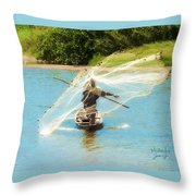 Teach A Man To Fish Throw Pillow