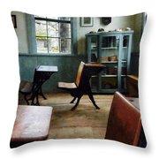 Teacher - One Room Schoolhouse With Clock Throw Pillow