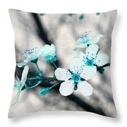 Teal Blossoms Throw Pillow