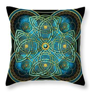 Teal Blue And Gold Celtic Cross Throw Pillow