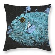 Gyotaku Triggerfish Throw Pillow by Captain Warren Sellers