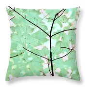 Teal Greens Leaves Melody Throw Pillow