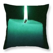 Teal Lit Candle Throw Pillow