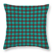 Teal Red And Black Plaid Fabric Background Throw Pillow