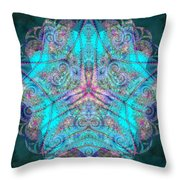 Teal Starfish Throw Pillow