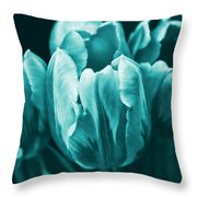 Teal Tulip Flowers Throw Pillow