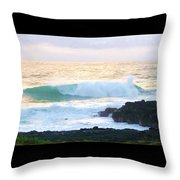 Teal Wave On Golden Waters Throw Pillow